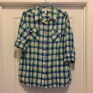 Overdrive Size 1X Plaid Shirt